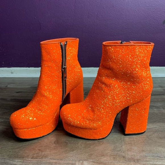Neon Orange Glitter Boots Sold Out Dk